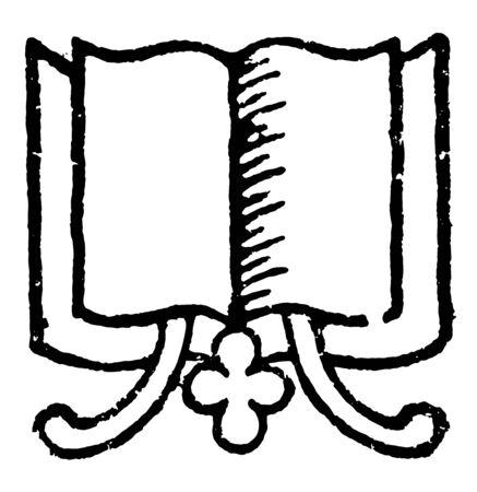 Book With Decorative Divider with bookmarks, book copy, divider, doodad, manual, Novel, publication, reader, reprint, vintage line drawing or engraving illustration. Illustration