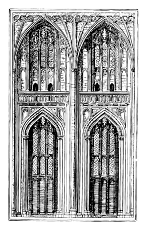 Two Bays is Perpendicular Style, pace between posts in the transverse direction, building and aisles run, vintage line drawing or engraving illustration