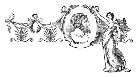 Anacreon, he was a Greek lyric poet, famous for his drinking songs and hymns, vintage line drawing or engraving illustration Foto de archivo - 133067396