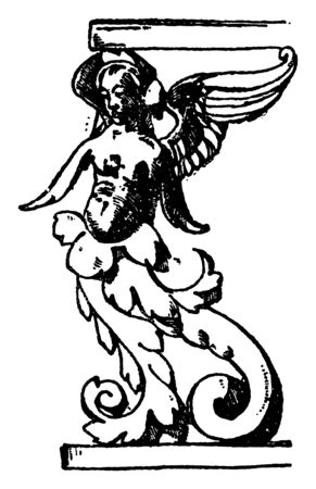 Grotesque Stall is found in San Agostino, It is a design of a winged female with an ending of foliage, vintage line drawing or engraving illustration.