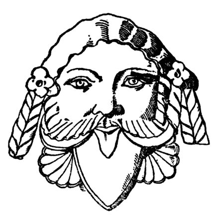Etruscan Grotesque Mask is made out of terracotta, vintage line drawing or engraving illustration. Archivio Fotografico - 133067415