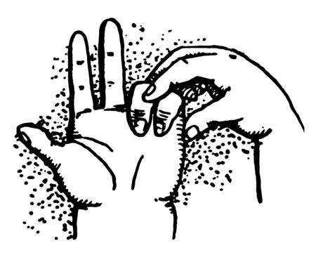Five Minus has A child subtracting with his Two fingers, vintage line drawing or engraving illustration.