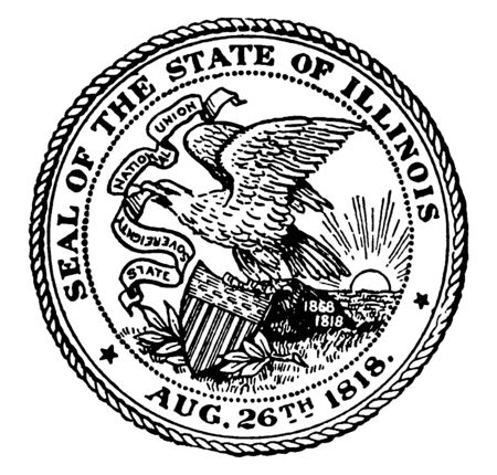 The Seal of the State of Illinois, 1818. The seal shows the bald eagle on a rock carrying a shield. It carries a banner in beak with the state motto, State Sovereignty, National Union., vintage line drawing or engraving illustration Çizim