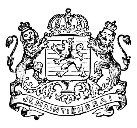 Netherlands Coat of Arms have crowned lions, vintage line drawing or engraving illustration. Ilustracja