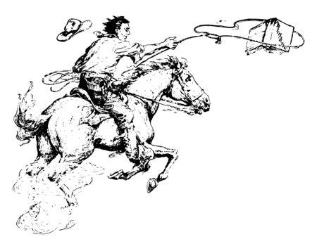 Man Lassoing Book of arithmetic, cowboy, horse, riding, lasso, horseback, riding, vintage line drawing or engraving illustration. Illustration