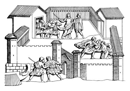 A picture showing castle of Circe. Circe was goddess of magic, vintage line drawing or engraving illustration. 向量圖像