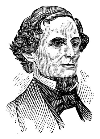 Jefferson Davis, 1808-1889, he was an American politician, president of the confederate states from 1861 to 1865, and United States senator from Mississippi, vintage line drawing or engraving illustration