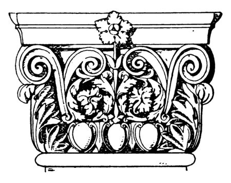 Roman-Corinthian Pilaster Capital, architecture, two, canonical, orders, Ionic, Corinthian, vintage line drawing or engraving illustration.
