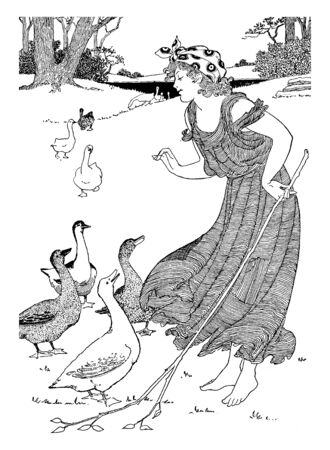 The goose girl, this picture shows a girl standing with a stick in her left hand and surrounded by geese, vintage line drawing or engraving illustration