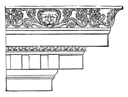 Ionic Cornice from the Temple of Minerva Polias at Priene, entablature resting on the columns, three parts, a plain architrave divided, more generally, a frieze resting, vintage line drawing or engraving illustration.
