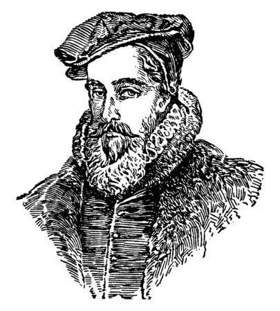 William Cecil, 1520-1598, er war ein englischer Staatsmann, Chefberater, Außenminister und Lord High Treasurer, Vintage-Linien-Zeichnung oder Gravierillustration