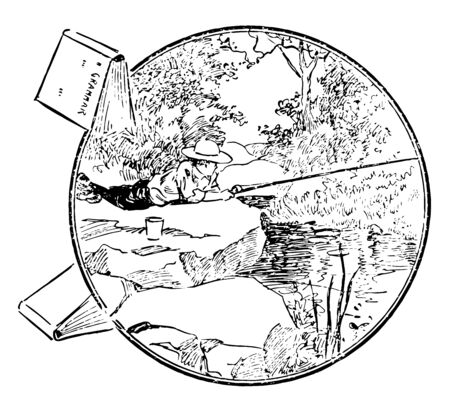 A boy is lying down on rock & is trying to catch fishes in river, vintage line drawing or engraving illustration. 일러스트
