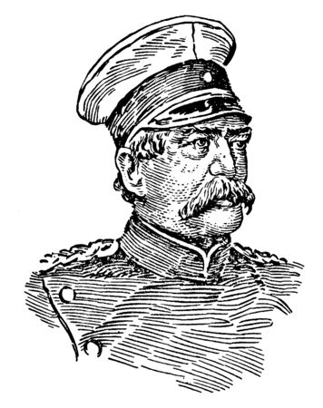 Otto von Bismark, 1815-1898, he was a Prussian statesman, first chancellor of the German empire from 1871 to 1890, and minister president of Prussia, vintage line drawing or engraving illustration
