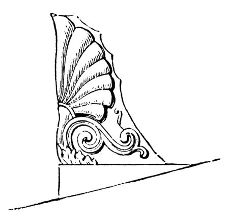 Acroteria, or Roof-Pedestal, from the Temple of Theseus at Athens, introduced acroteria, on small pedestals, the sliding effect, produced by the oblique lines of the pediment, vintage line drawing or engraving illustration. Vektoros illusztráció