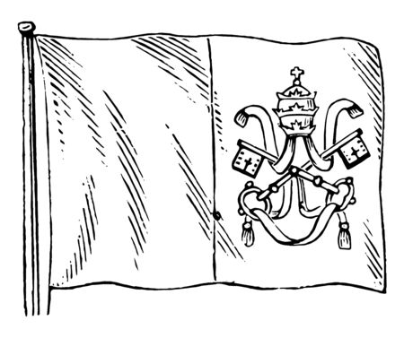 Roman States Flag, this flag has two equal vertical bands,it has crown, two cross keys connected by cord in right vertical band of flag , vintage line drawing or engraving illustration Ilustrace