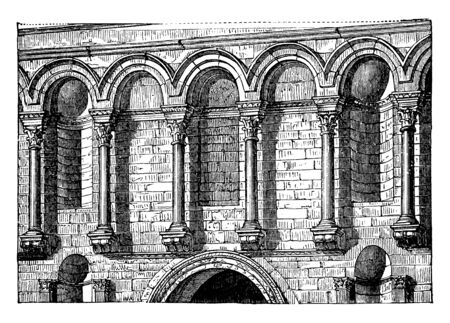 Entrance Façade of Diocletian's Palace, Diocletian at Spalatro, the introduction of small shafts resting on brackets,  niches of various shapes, vintage line drawing or engraving illustration.