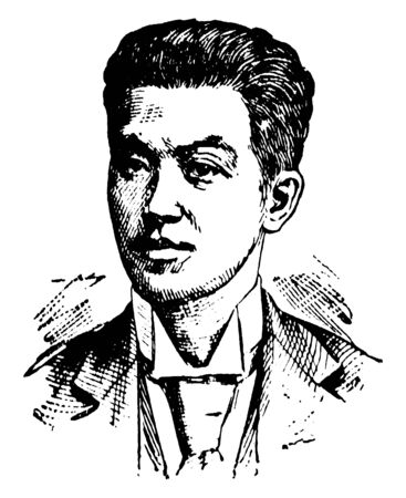 Emilio Aguinaldo, 1869-1964, he was the first and youngest president of the Philippines from 1899 to 1901, he was Filipino revolutionary, vintage line drawing or engraving illustration