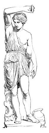 A portrait of strong masculine female warrior, vintage line drawing or engraving illustration. Çizim