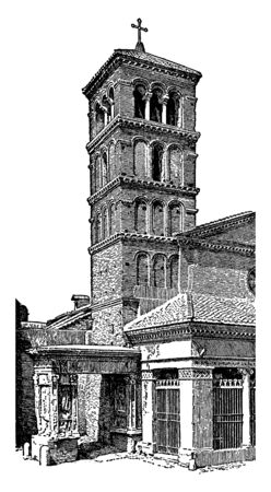 Bell Tower refer to a free standing bell tower, bells and the ringers rather than the complete tower, heard at a distance, vintage line drawing or engraving illustration.
