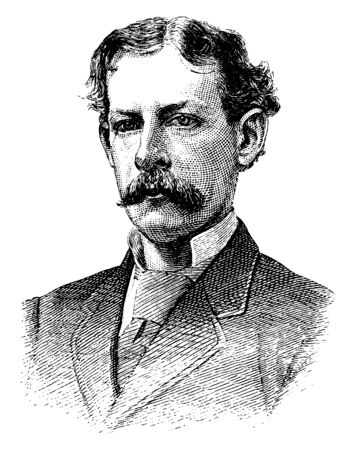 James Gordon Bennett, 1795-1872, he was the founder, editor and publisher of the New York Herald and a major figure in the history of American newspapers, vintage line drawing or engraving illustration