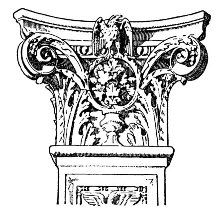 Italian Renaissance Capital, superposition, classical, orders,  ground, floor, piano, nobile, vintage line drawing or engraving illustration.