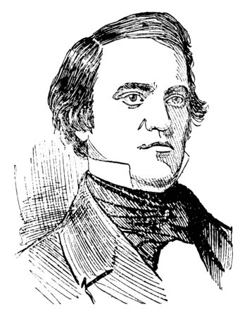 John C. Breckenridge, 1821-1875, he was an American lawyer, politician, fourteenth and youngest-ever Vice President of the United States from 1857 to 1861, vintage line drawing or engraving illustration