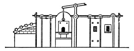 This illustration represents Reverberatory Furnace which is a metallurgical or process furnace, vintage line drawing or engraving illustration.