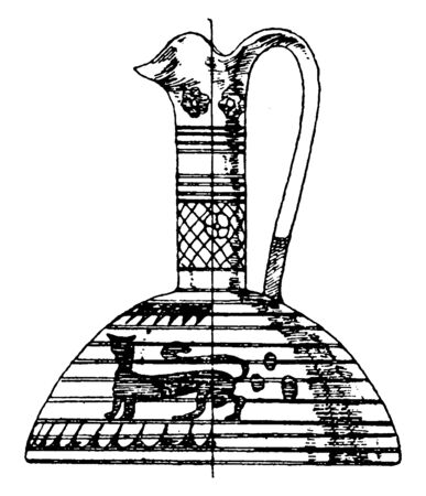 Greek Prochous is in an archaic, It was used as a sacrificial vessel from which offerings of wine, vintage line drawing or engraving.