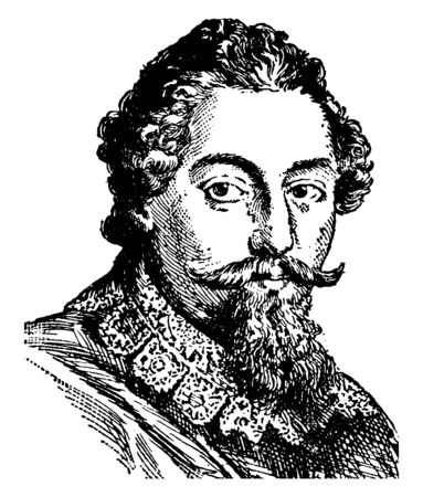 Francis Beaumont, 1584-1616, Beaumont was a poet, playwright and dramatist in the English renaissance theatre, vintage line drawing or engraving illustration