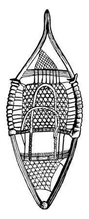 A shoe used which prevent riders to sink in snow, vintage line drawing or engraving illustration.