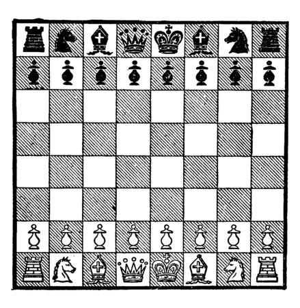 Cette image montre la configuration d'un échiquier. Les échecs sont un jeu très célèbre, un dessin au trait vintage ou une illustration de gravure. Vecteurs