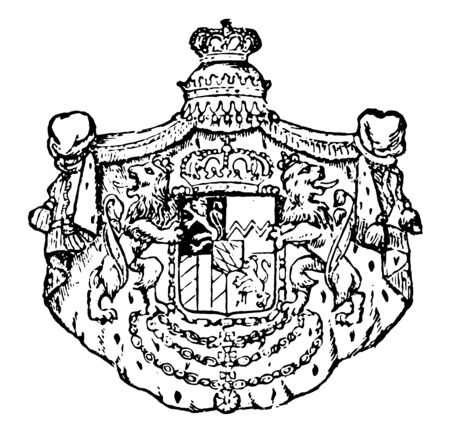 Bavarian Coat of Arms is the part of the german state of Rhineland Palatinate, it is the number of lozenges varied from 15th century were used and increasing, vintage line drawing or engraving illustration.