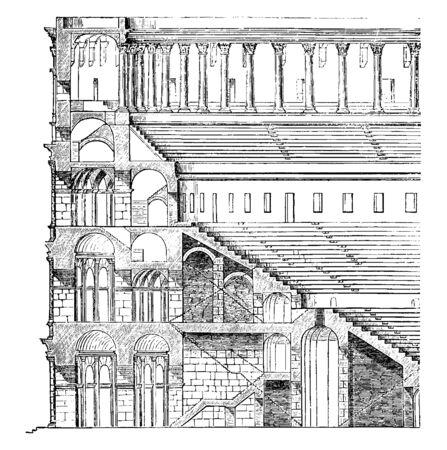 Höhe und Abschnitt des Kolosseums, die Sitzreihen, eine solide Unterkonstruktion aus Pfeilern und Bögen, der gerade Teil des Gebäudes, Vintage-Linienzeichnung oder Gravurillustration. Vektorgrafik
