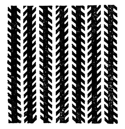 Zollner Illusion is the angle helps to create the impression that one end of the longer lines is nearer to us than the other end, vintage line drawing or engraving illustration. Иллюстрация