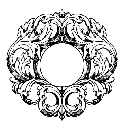 German Mirror-Frame was made in the 18th century, vintage line drawing or engraving illustration. Illustration