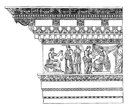 Corinthian Entablature from the Nerva at Rome, Simple styles, such as the Doric, and among the Greeks, it is in small dimensions, but on the largest scale, vintage line drawing or engraving illustration.