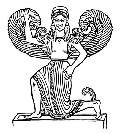 A free-standing statue of a Nike wearing a Peplos and a Chiton, leaving the bent right leg exposed, vintage line drawing or engraving illustration. Vektoros illusztráció