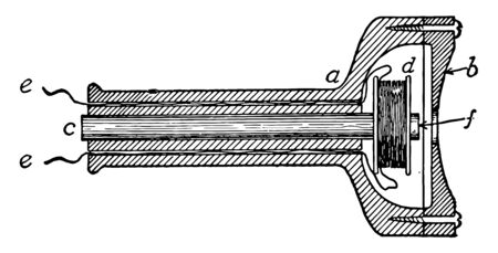 This illustration represents Telephone Receiver where the receiving telephone converts the signals into audible sound in the receiver, vintage line drawing or engraving illustration. Illusztráció
