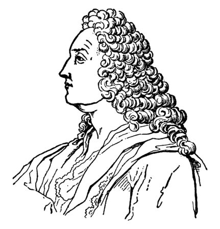 John Bernouilli, 1667-1748, he was a famous Swiss mathematician, famous for his contributions to infinitesimal calculus and educating Leonhard Euler in the pupil's youth, vintage line drawing or engraving illustration