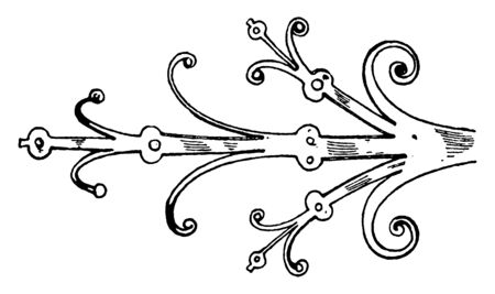 Gothic Hinges is a strap-hinge, unique and handmade, directly from sellers, vintage line drawing or engraving illustration.