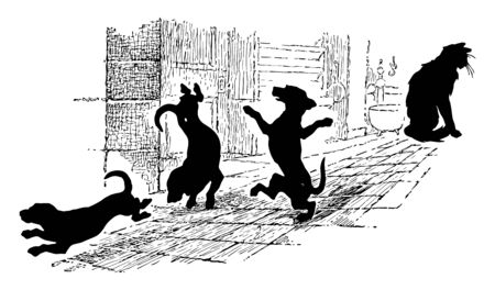 Cat and Dancing Dogs down the hallway and its vapor and falling in drops, it have suspicious histories for sales, vintage line drawing or engraving illustration.