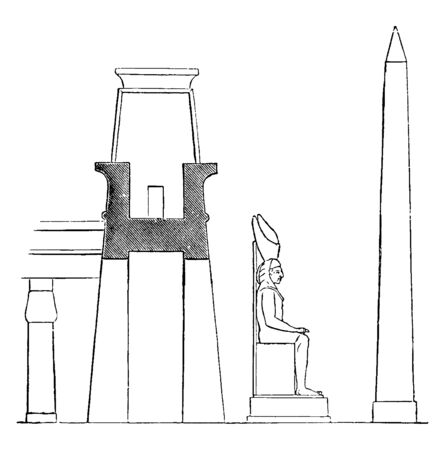 Pylon at the Palace at Luxor, Profile with Colossal Statue and Obelisk, complex located, east bank of  River, Battle of Kadesh, Amun, Chons, Egyptian architecture, Egyptian, vintage line drawing or engraving illustration.
