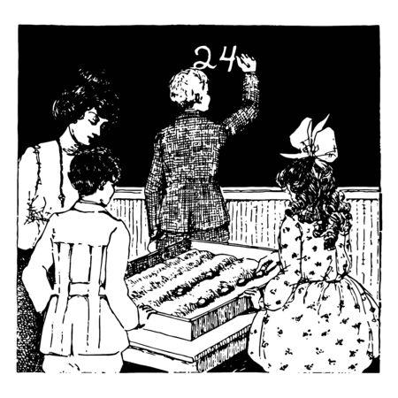 Sand Table or  chalkboard, classroom, group work, students working, teacher, vintage line drawing or engraving illustration. Ilustração