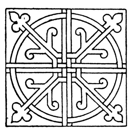 Tiles Square Panel in the Cistercian monastery in Bebenhausen a village in Germany, vintage line drawing or engraving illustration. Illustration