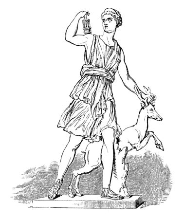 In Roman mythology, Diana was the goddess of the hunt, the moon and childbirth, being associated with wild animals and woodland, and having the power to talk to and control animals, vintage line drawing or engraving illustration. Ilustração
