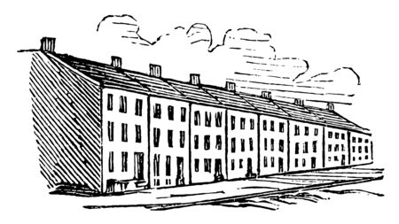 Multiple houses are in a row, vintage line drawing or engraving illustration. Иллюстрация