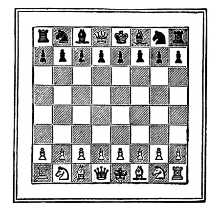 This game is played by two persons on a board which consists of 64 squares, arranged in 8 rows of 8 squares each, alternately black and white. This is very famous game, vintage line drawing or engraving illustration.
