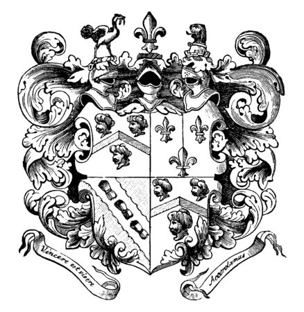 Smiths Coat of Arms of Captain John Smith, vintage line drawing or engraving illustration.