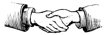 A view of two people shaking hands, vintage line drawing or engraving illustration.