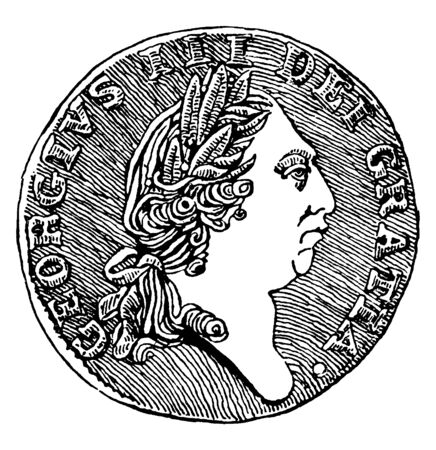 Spade Guinea Coined by George III, Obverse, the obverse of the coin carries George IIIs profile, vintage line drawing or engraving illustration